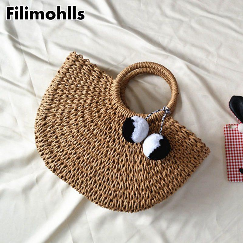 Praia New Summer Handmade Bags Mulheres Senhoras Envolvido Saco De Tecelagem Palha em forma de Pomona Moon Bag 2020 F-296 Duaea