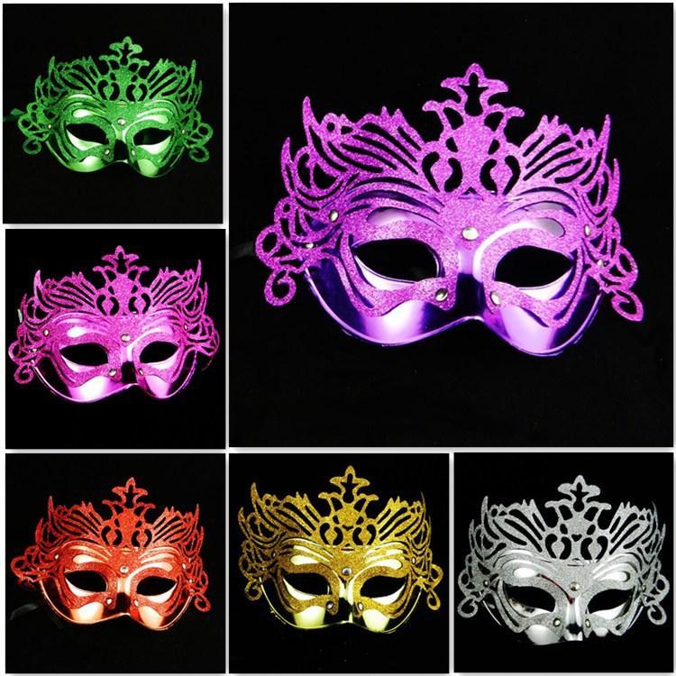 Mode féminine Hallowmas galvanoplastie Gold Crown masque pour les yeux vénitien avec des masques de mascarade de poudre d'or masque de fête de danse de masque de Pâques 8 couleurs