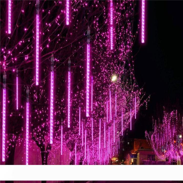 30cm 50cm 80cm Meteor al aire libre ducha de lluvia 8 luces de cadena 10Tubes llevadas impermeables para la boda de Navidad decoración del partido crestech