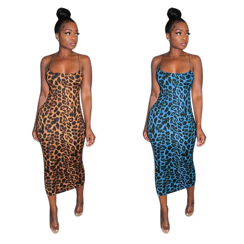 Kleid der Frauen der Sommerfrauen reizvolles Kleid des Leopard-Spaghetti-Bügel vestidos Druck plus Größe Art und Weise der beiläufigen Art