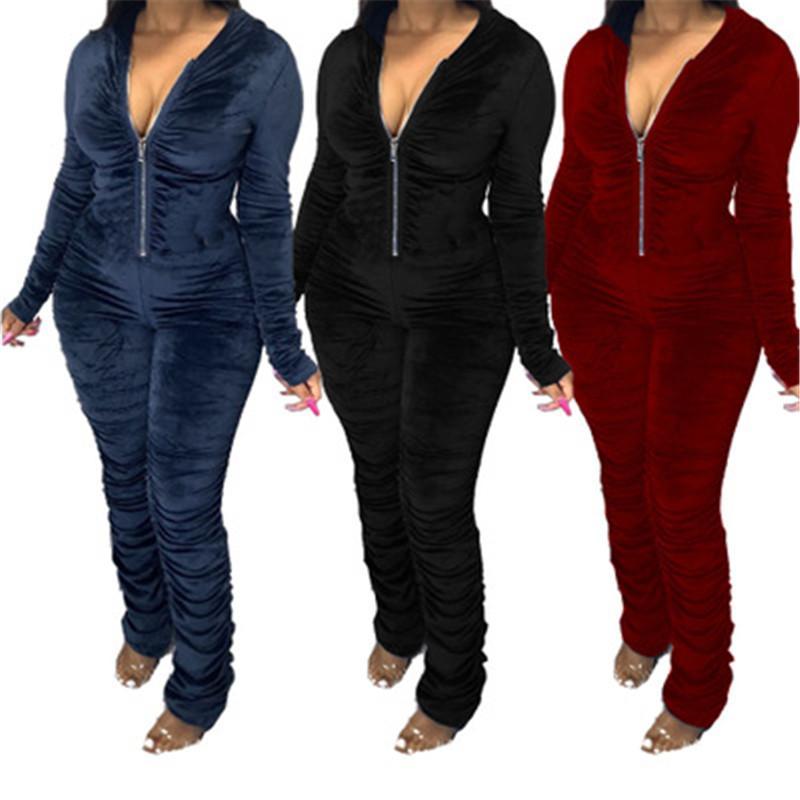 Дамы плиссированные Комбинезон моды с длинным рукавом сплошной цвет Zipper Толстовки Комбинезон Дизайнер Женский Осень Узкие Повседневная Длинные брюки Rompers