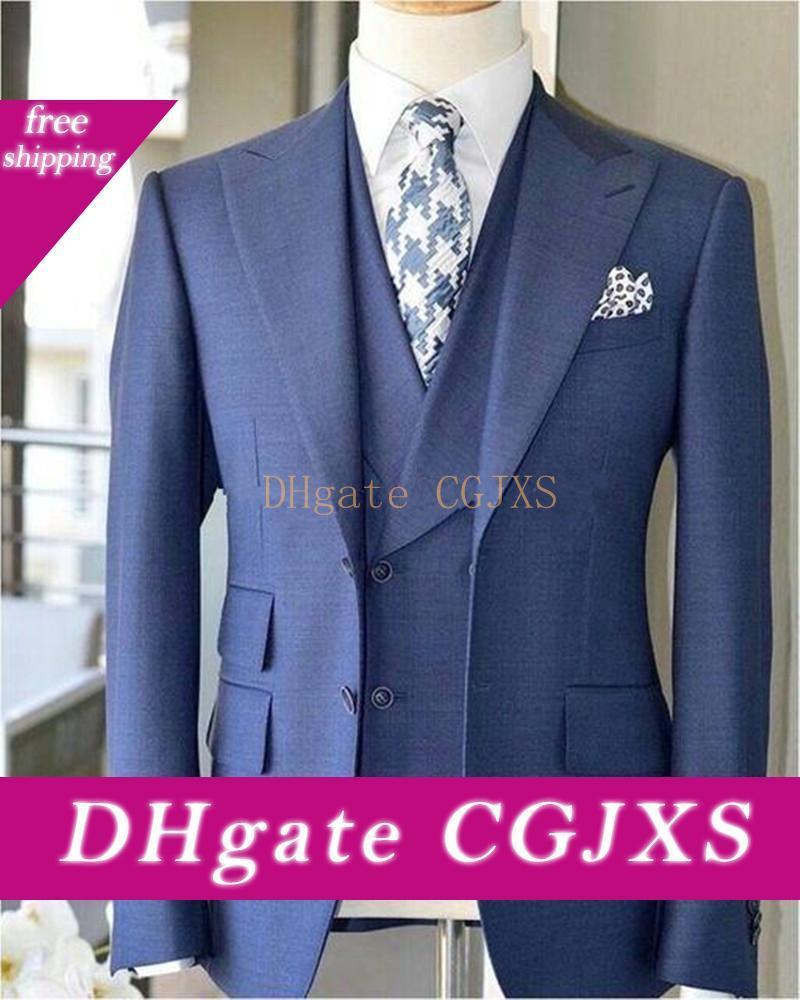 Neue reale Bild mit zwei Knöpfen blaue Hochzeit Bräutigam Smoking Spitze Revers Groomsmen Herren Abendessen Blazer Anzüge (Jacke Hosen Weste Krawatte) 486