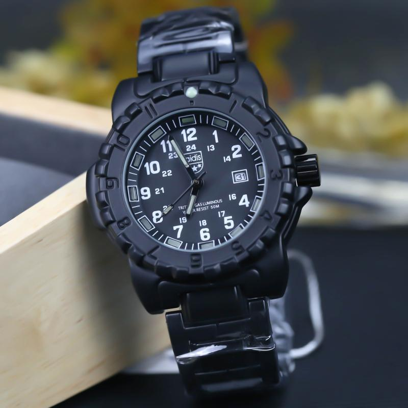 남성 방수 시계 50M 방수 백라이트 석영 손목 시계 망 발광 스포츠 시계