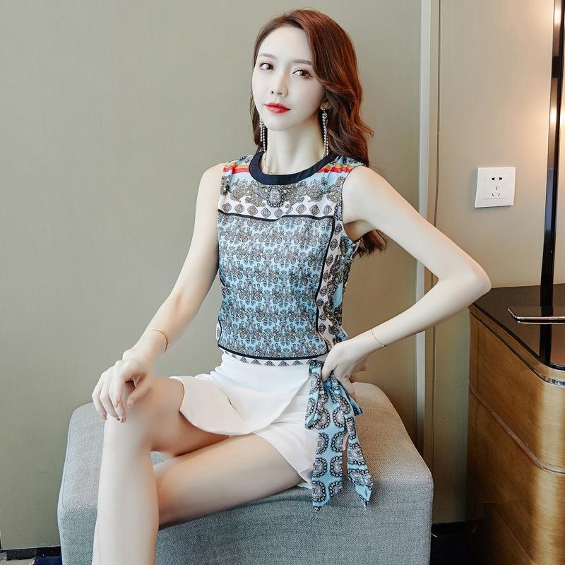 wAPIQ 2020 Yaz yeni Kore tarzı zayıflama Fransız yaz OyunKağıdıRengi renk kadın elbise elbise iki parçalı niş