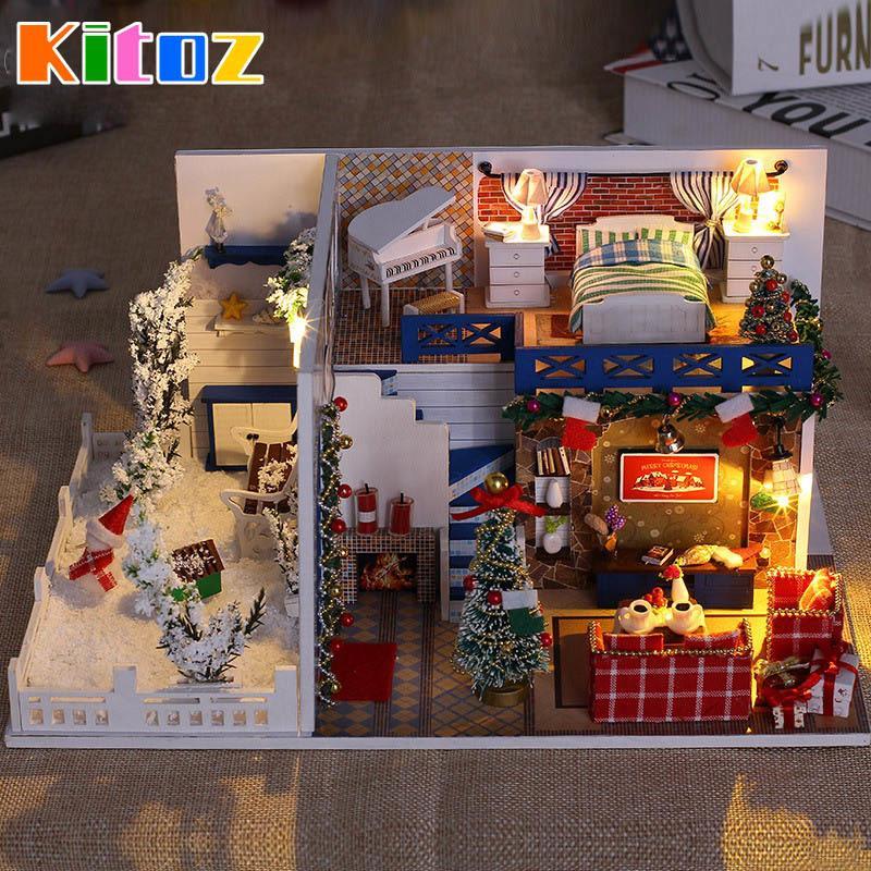 DIY Рождество Кукольный дом Миниатюрные Небольшой деревянный ящик номер Dollhouse Главная Xmas Сувенирные украшения здания Игрушка для детей Y200317