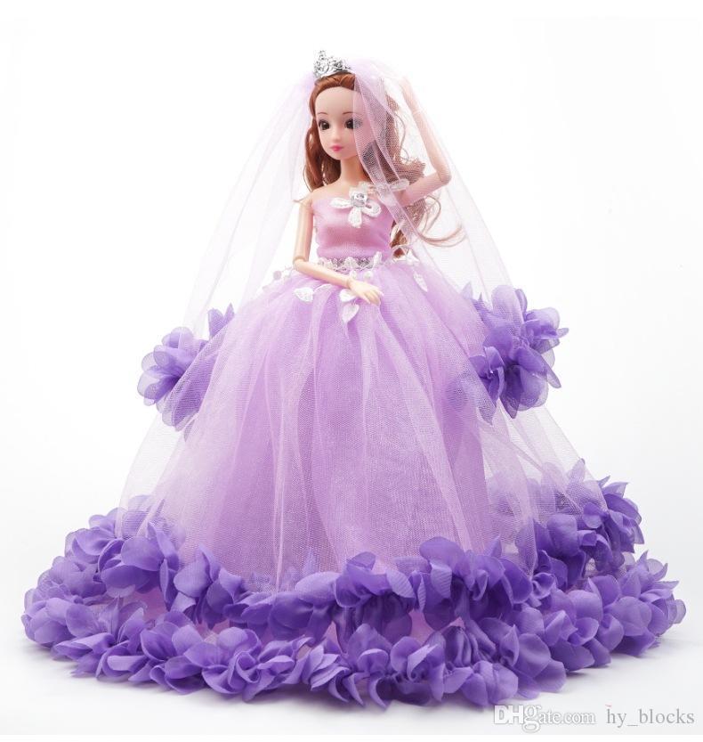 Abito da sposa ragazza Barbie vestiti bambola 40 cm partito indossa set da principessa vestito di compleanno vestito outfit accessori colorati bambini regalo sera lungo GMFC