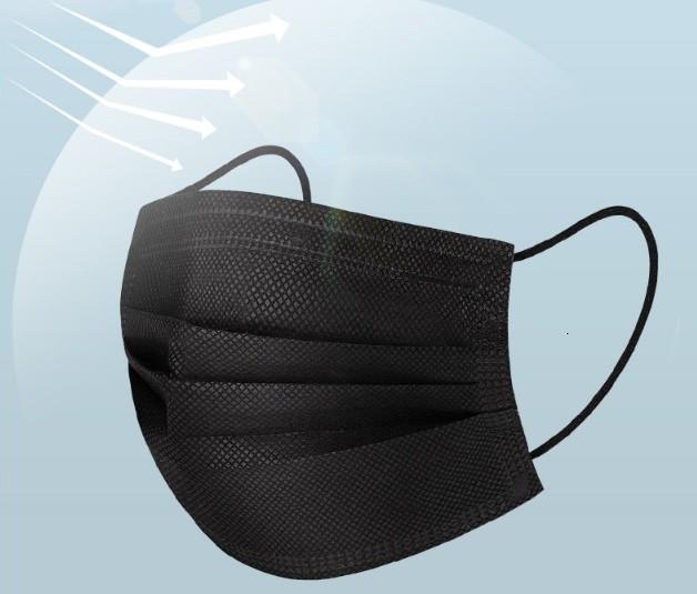 На складе Черные Маски 3 слоя Утолщенные ткань Одноразовые аэродинамическим способом из расплава Маска антибактериальная защитная Маски для лица Anti-пыльцевой Anti-Dust
