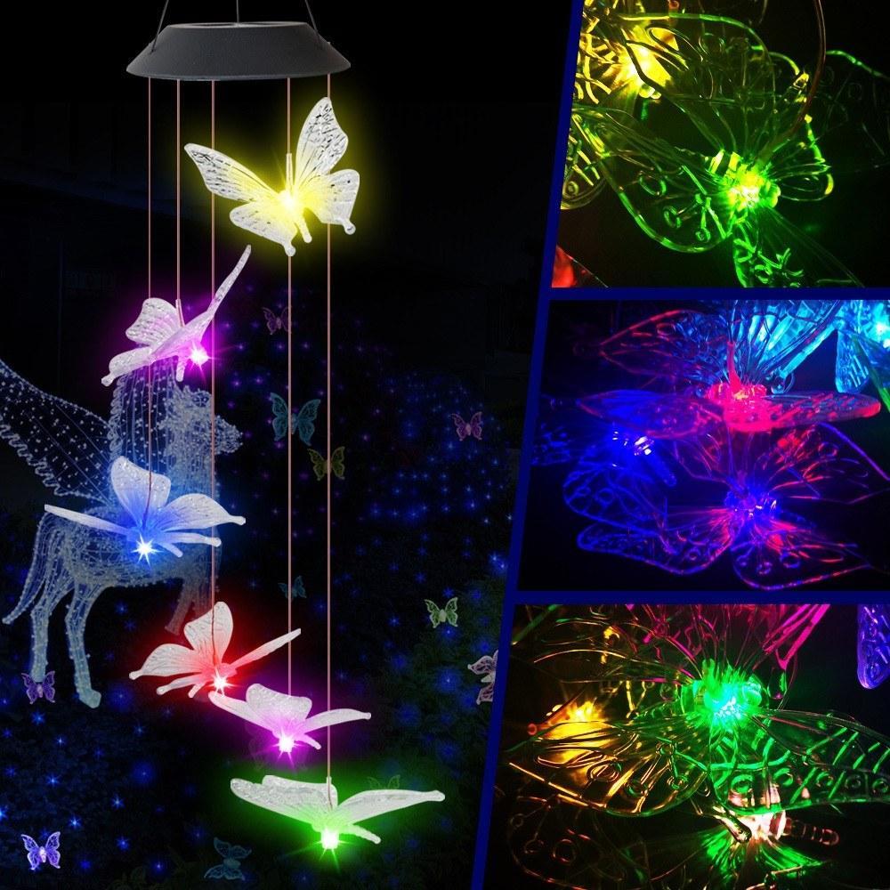 Suspending Éclairage Carrelage Chantillon Couleur Changement de Papillon Forme Solaire Énergie Solaire Pour Jardin Patio Holiday Party Valentin