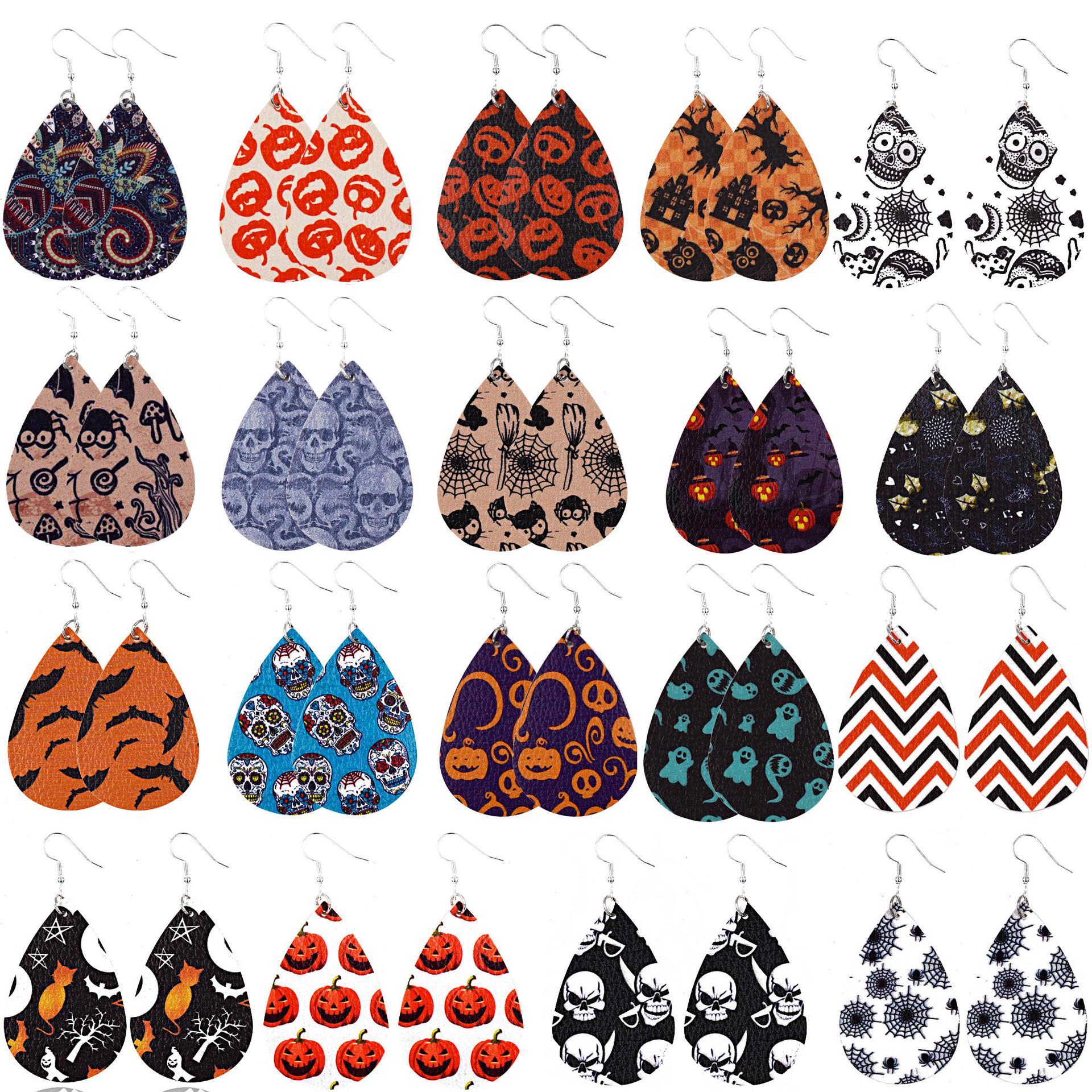 2020 New Design Leather Earrings Pumpkin Skull Drop Earrings Fashion Halloween Jewelry Gifts