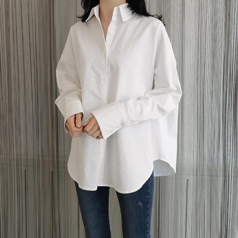 7Dhky Корейской Ленивая 2020 белой белой рыхлой женской стиля весна длинного рукав хлопок все соответствующие рубашки bfstyle студентой рубашка прилив