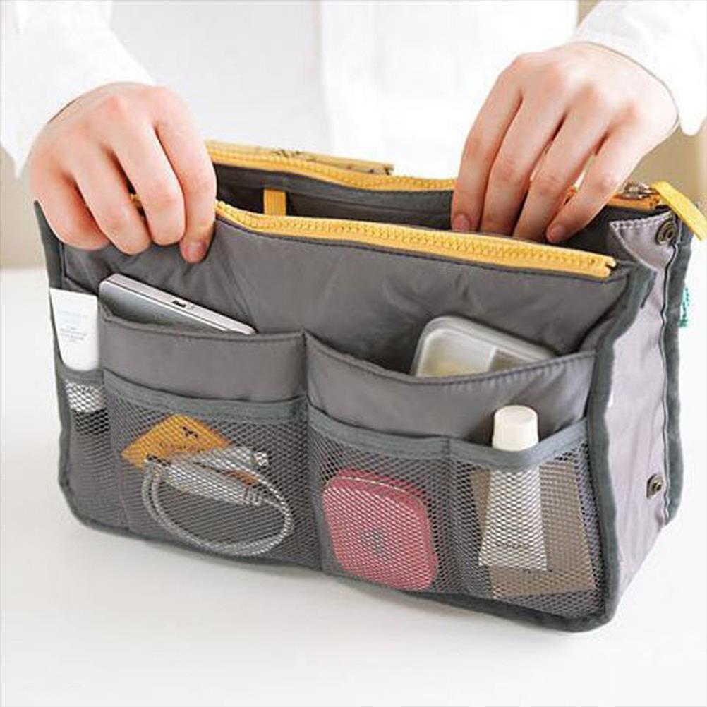 sacchetto di trucco organizzatore cosmetico del sacchetto multifunzionale doppio portatile Zipper bagagli Cosmetic Bag supporto dell'organizzatore