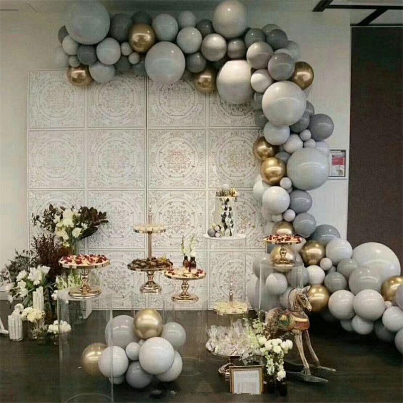 125PCS 5/10/18 дюймов Arons серый золотой 4d набор воздушный шар гирлянда свадьба украшение день рождения партии