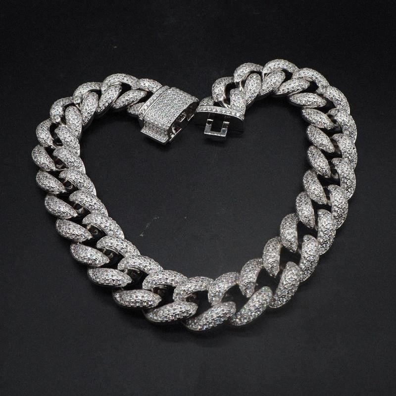 Hip Hop personnalisé 3Row CZ Bracelet Collier Glacé CZ Bling 25mm Chaînes chaîne Cuban Link Collier hommes Rue Rock Rap Bijoux owua #