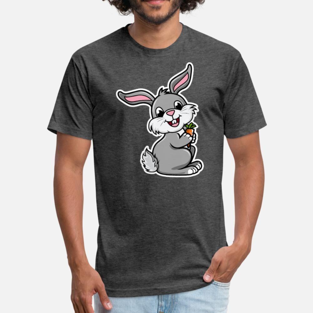 Simpatico coniglio T shirt Kawaii Uomini Stampa T Shirt S Xxxl-Trend Fit casuale molla della camicia formale