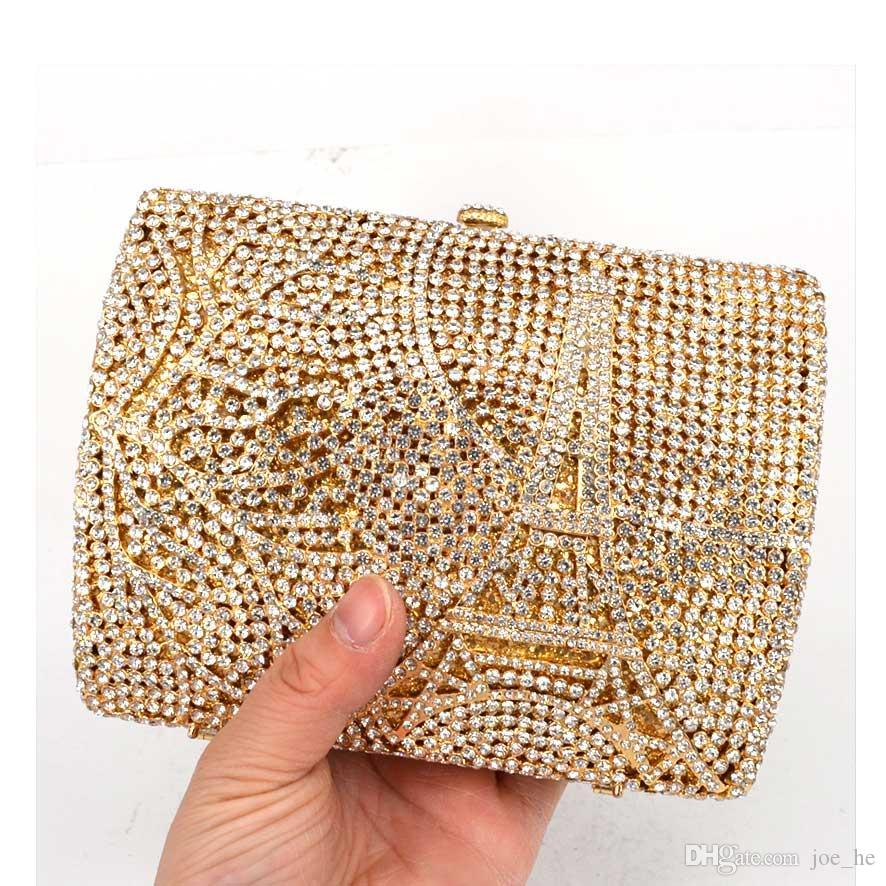 DesignerLaiSC artesanal bolso de noche del embutido Torre Eiffel paern embrague bolsa de diamantes de lujo de la cadena monedero de la tarde pochee SC76