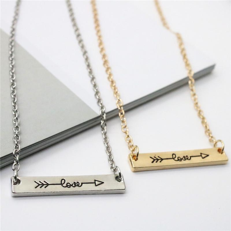 Isang مبدع عشاق رسائل حب المعلقات قلادة سبيكة السهم خلال سلسلة القلب قلادة قصيرة مجوهرات هدية