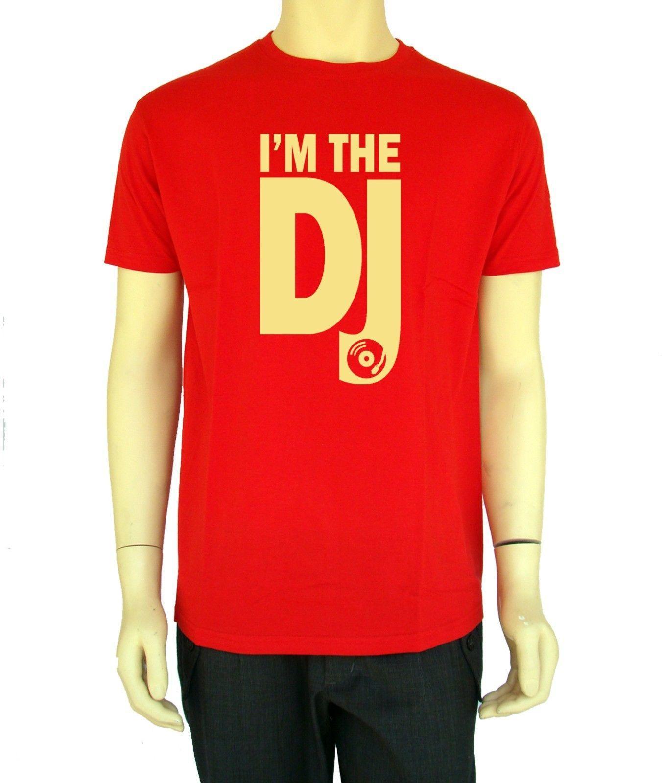 2019 Nueva caliente Im El Dj camiseta para hombre Camiseta gráfica divertida de la música Diseño de manga corta de algodón Dj Camiseta