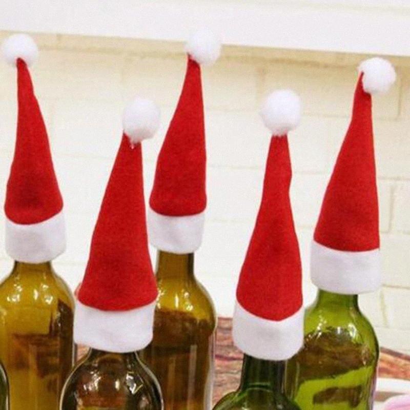 10pcs de Noël Chapeau de Père Noël Coupe Chapeau Mini Père Noël Couverture de cadeau de Noël Bouteille de vin Couverture Décoration VEOX #