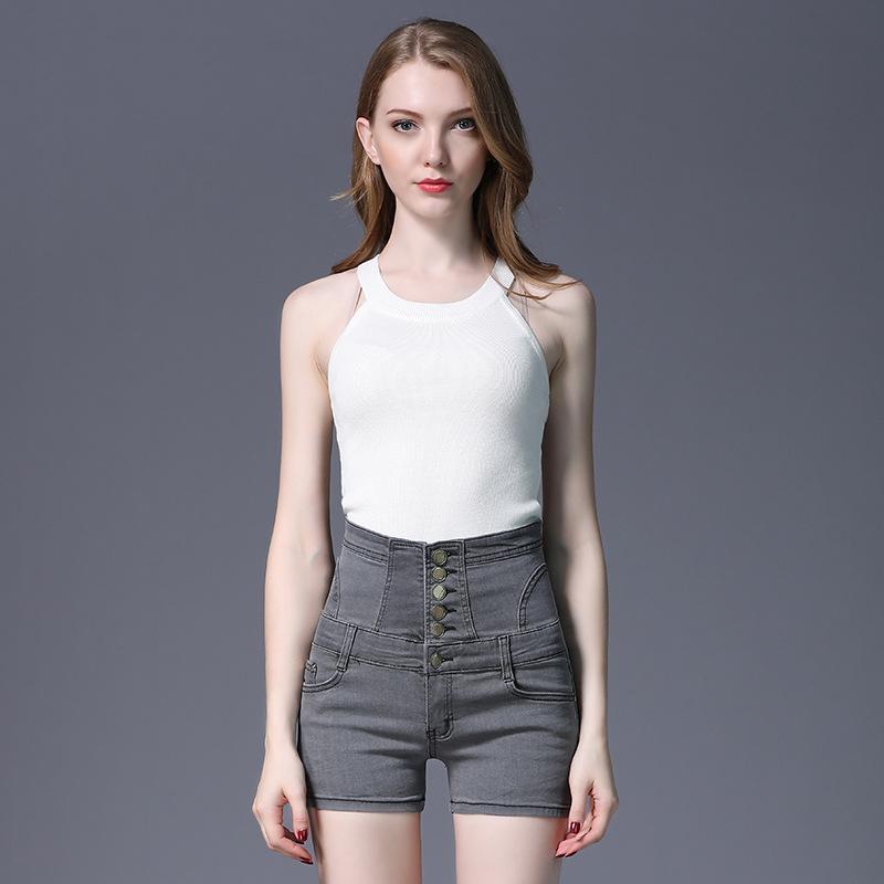 Summer fashion new plus size women's high-waist stretch jeans shorts women's waist slimming denim short women jeans pants clothing