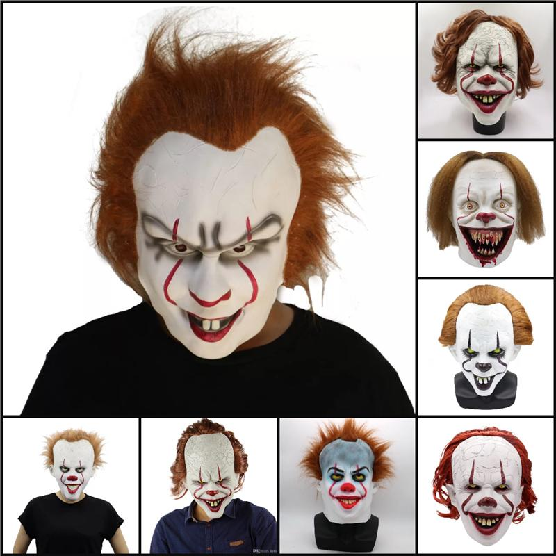 Dropship Cadılar Bayramı Maskeleri Silikon Film Stephen King'in It 2 Joker Pennywise Tam Yüz Palyaço Parti Korkunç Cosplay Prop Maskeler Maske