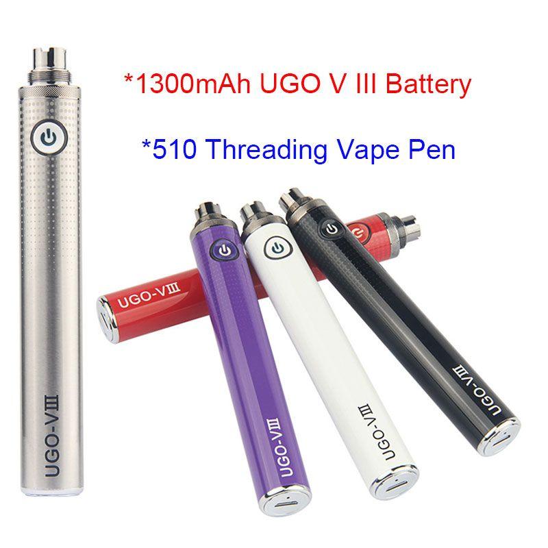 5pcs 510 Vape bateria UGO V III 1300mAh ego V3 Inferior Carga Pen vaporizador com carregador USB para cartucho électronique cigarro