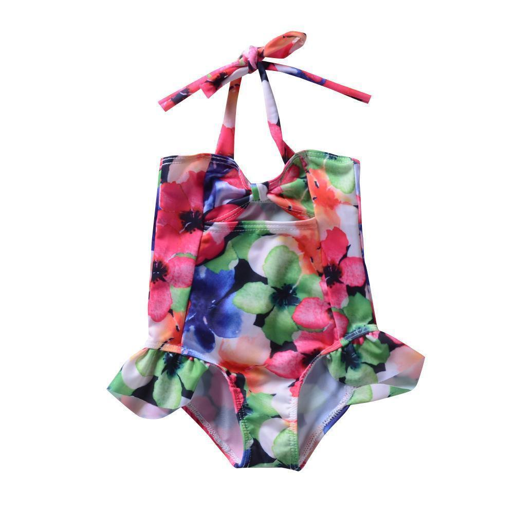 Kids Baby Girls Bowknot Multicolor Flower One -Piece Swimwear Bikinis Swimsuit Bathing Suit Beachwear Children Swimming Dress Summer Boutiqu