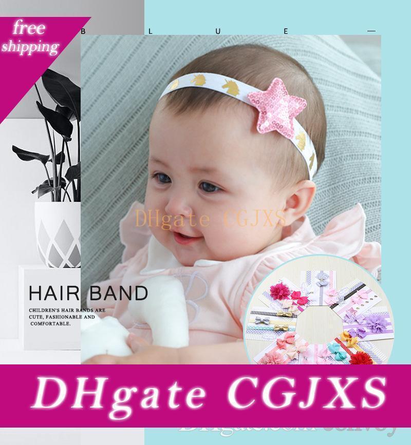 Kız bebekler Bantlar Setn Çocuk Kız Dantel Çiçek Bow Saç Pırıltılı Yıldız Kafa Bandı Yenidoğan Çocuk Headdress Çocuk Saç Aksesuarları Kha356