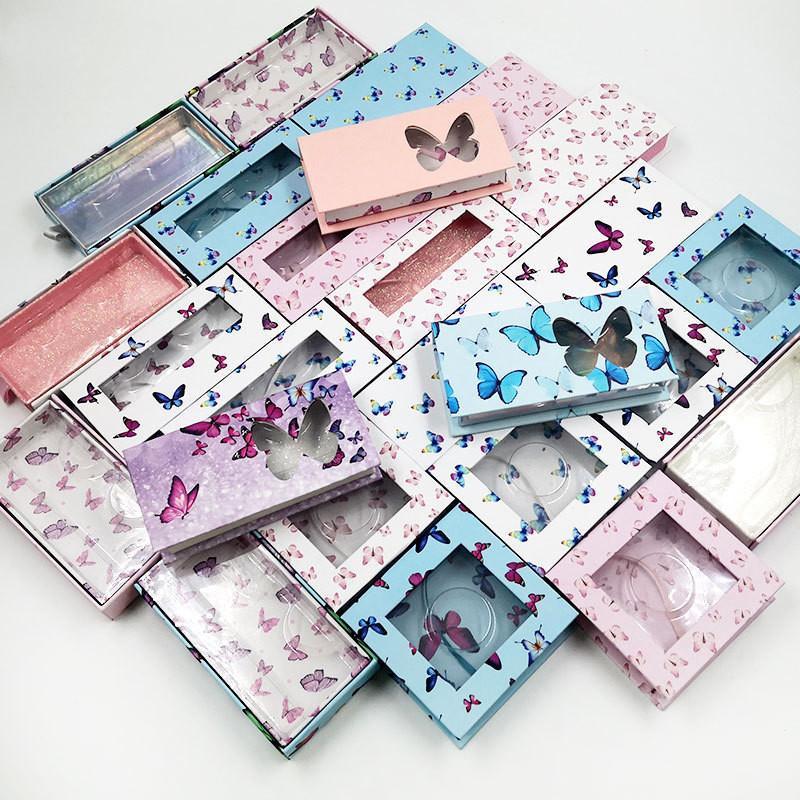 새로운 나비 밍크 속눈썹 상자 가짜 속눈썹 포장 25mm 밍크 속눈썹 상자 빈 래쉬 케이스 사용자 정의 로고 속눈썹 상자 선물 케이스