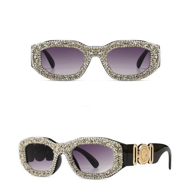 2020 nuovo grande standard di metallo a forma di diamante retro roccia stile intarsiato fascino moderno retro occhiali da sole 4361-3