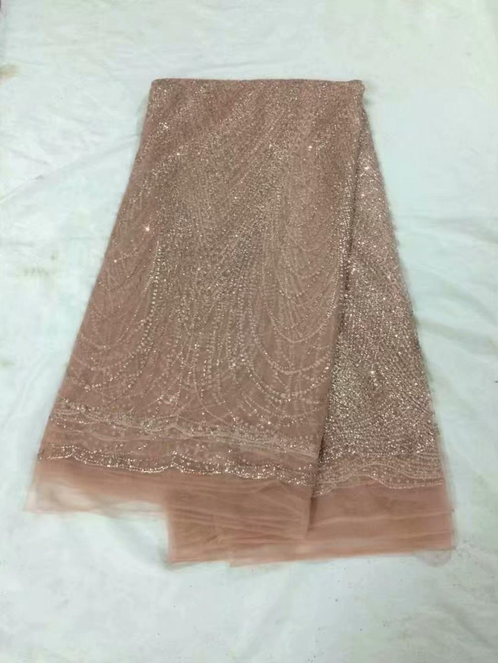 design elegante ouro rosa com glitter laço francês material de tule tecido de renda líquida para costurar o vestido UN46 (5yards / pc)