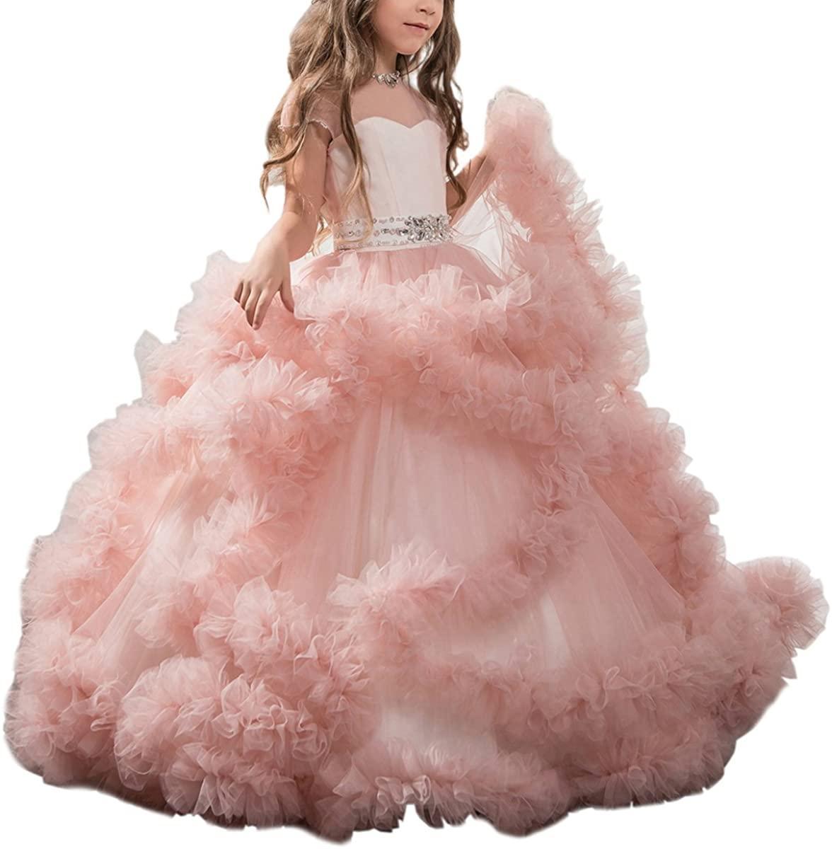 Flower Girl Dress Stunning in rilievo di lusso di spettacolo di cerimonia nuziale sfera di Tulle abiti per le ragazze