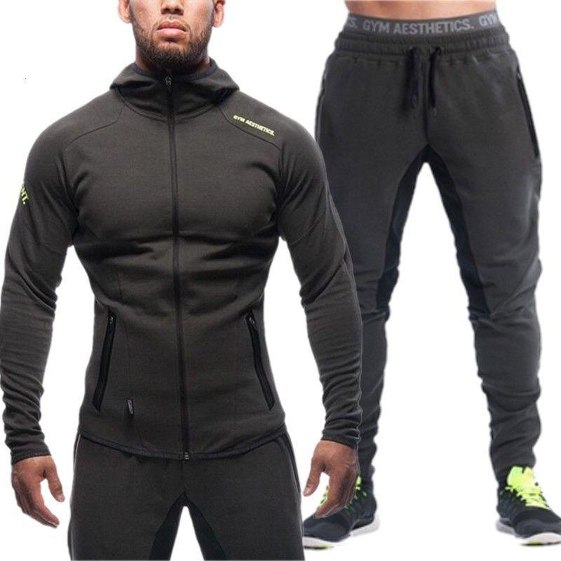 Autunno vestito casuale dei nuovi uomini cerniera felpa con cappuccio sciolto all'aperto vestito di sport di fitness