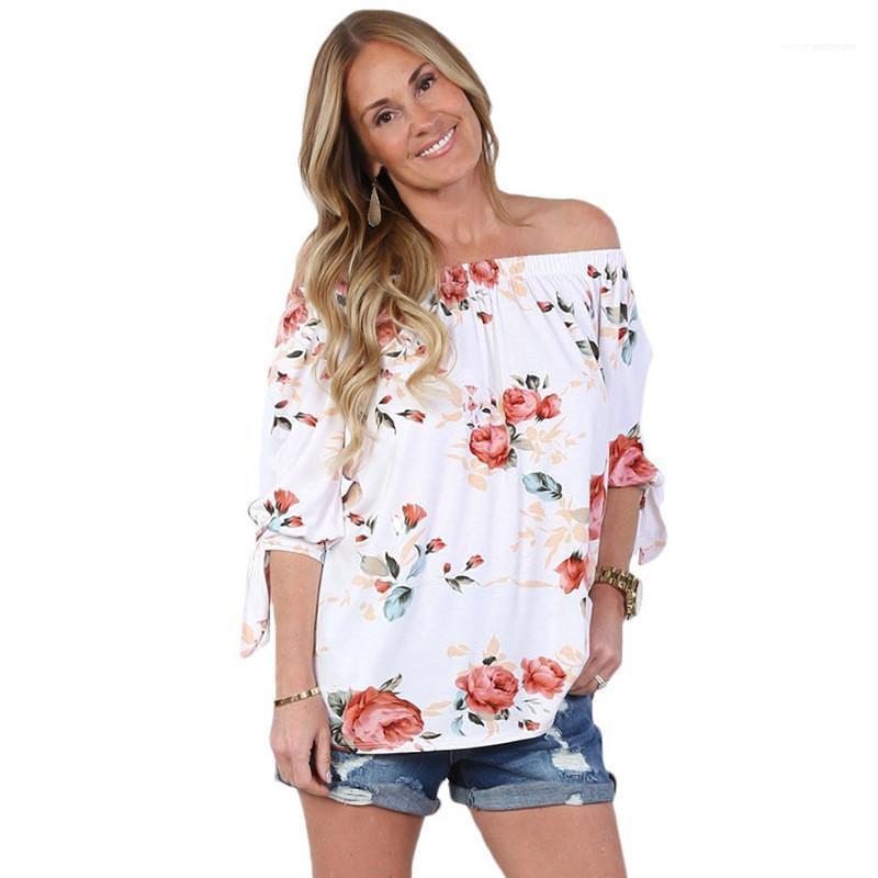 Kısa Kollu Tişörtler Casual Dişiler Giyim Tasarımcı Çiçek Baskı Tasarımcı tişörtleri Moda Boyun Bow Bind Womens Slash Womens