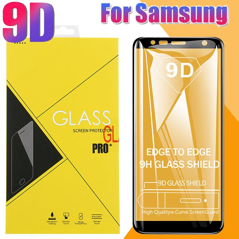 9D Full Cover Tempered Glass Curved Edge Film Screen Protector For iPhone 11 Pro Max XS XR 8 Plus Samsung S10 E M10 M20 M30 A40 A50 Have Box