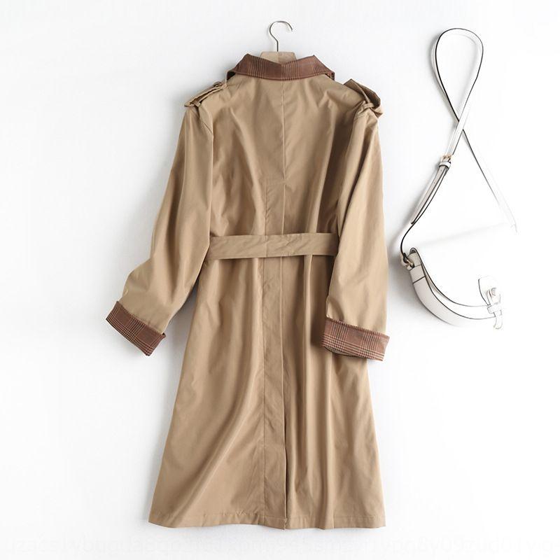 Q3921-estilo coreano 2020 primavera y el otoño de Nueva solapa de la capa doble de pecho rompevientos cordones de la tela escocesa de costura gabardina para las mujeres hsMPb HSM