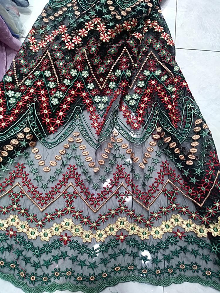 In vetrina stile etnico linea multicolor ricamo Nigeria gonna del vestito da sera in pizzo francese maglia morbido tessuto africano del merletto