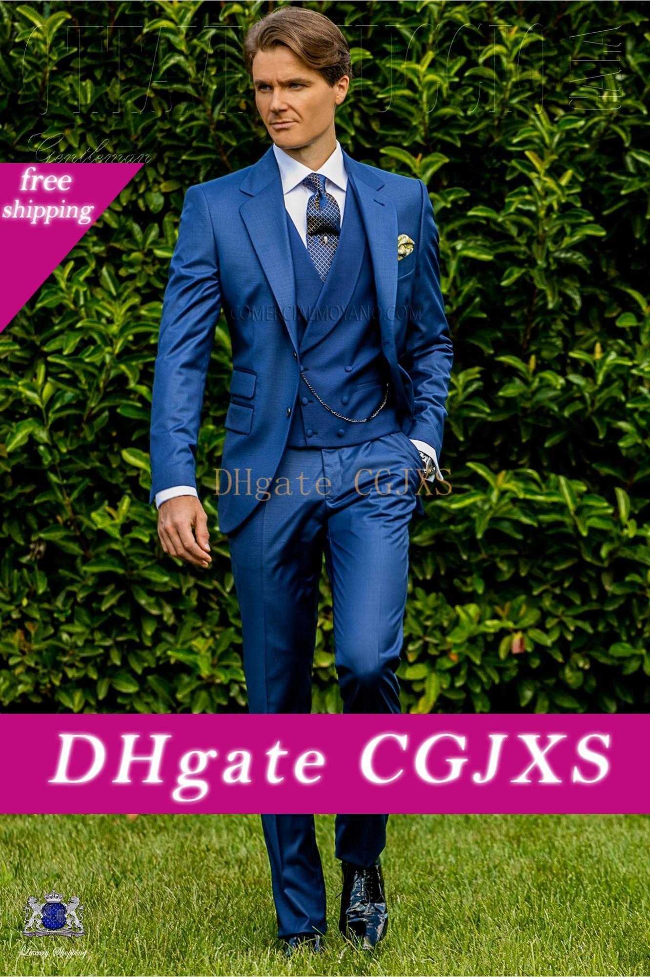 Yakışıklı Mavi Damat Düğün Suit Damat Slim Fit İki Düğme 3 adet Balo Parti Blazer Ceket (Ceket Yelek Pantolon)