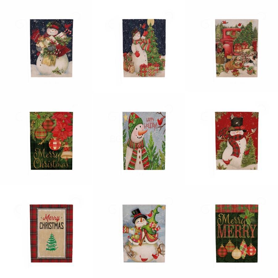 Bandera de la tabla creativa de Navidad Mantel de lino de algodón de Navidad decoración de la tabla del escritorio de Red Elk blanca del copo de nieve de Navidad Mantel # 557