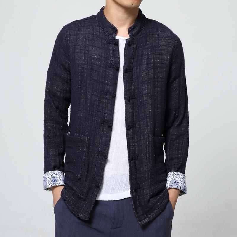 36QFA Automne Hiver nouveau coton veste veste couleur collarsolid hommes style chinois st lin coton et lin grande taille col