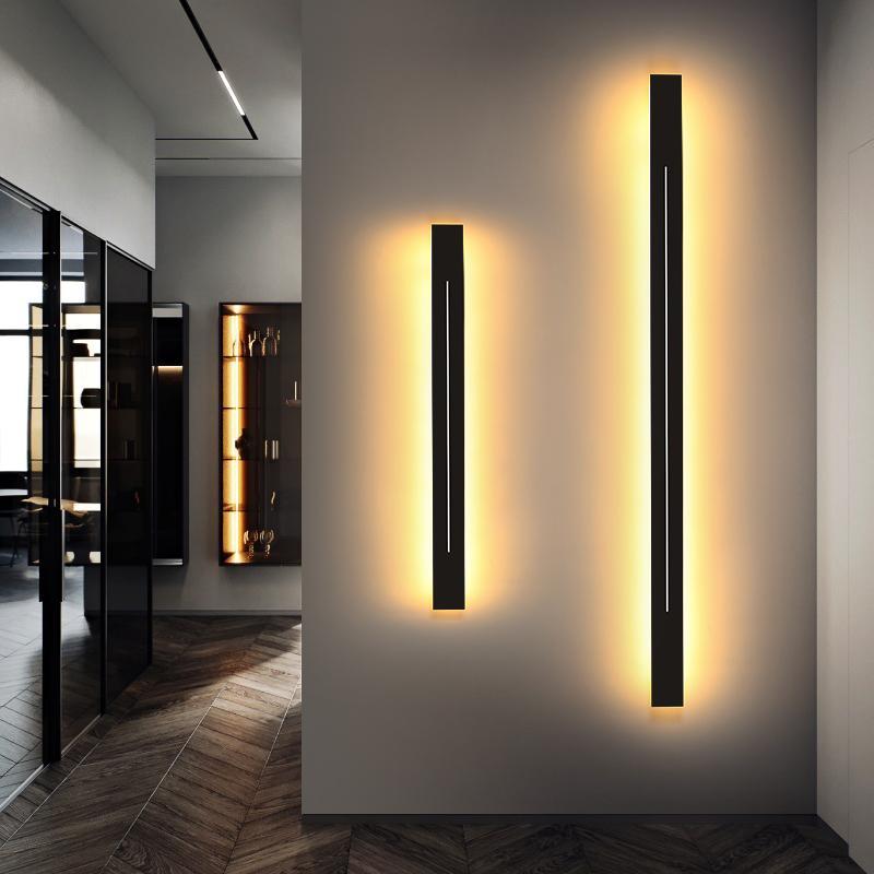 Llevada moderna Lámparas de pared para escalera de estar Dormitorio de noche Negro Luz de oro del hierro del accesorio de iluminación de interior Wandlamp Deco AC85-260V RW331