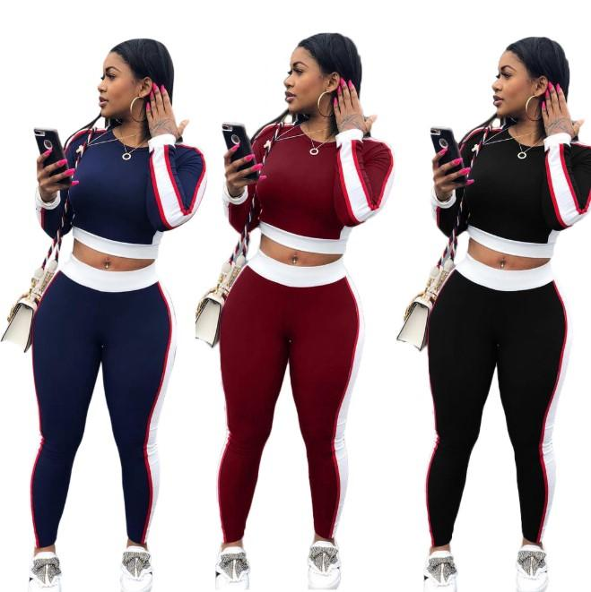 Women Sport Style Clothing Sets Womens Casual Sexy Stitching Active Sports Suits Fashion Two Pieces Sets Women Long Sleeve Tshirts + Pants