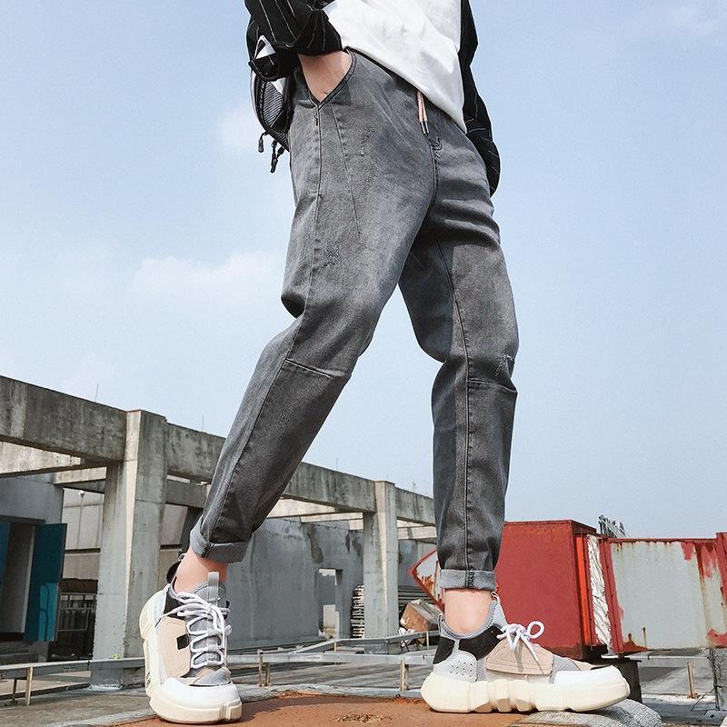 PRfdE outono e inverno New calças stretch tornozelo e jeans casual calças slim-fit jeans cinza calças casuais coreano moda estilo dos homens masculina