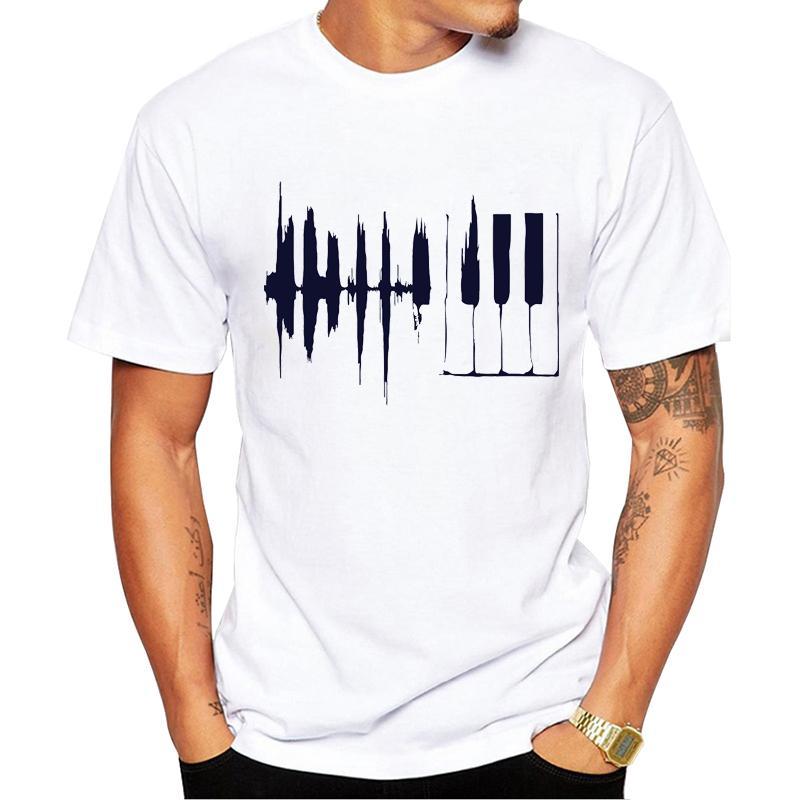 TEEHUB Geometric Männer T-Shirt 2020 Mode Klavier gedruckte kurze Hülsen-T-Shirts Sommer-beiläufige Oberseiten-Stück