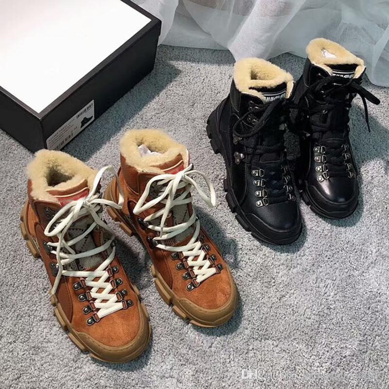 2020winter Martin ceinture nouée bottes chaudes bottes de neige chaussures de marque pour les hommes et les femmes d'origine leatherThick bas bottes courtes de grande taille US11 12 47