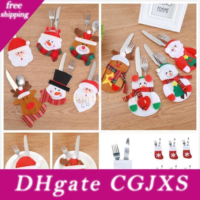 Año Nuevo de Navidad decorativo Cuchillo Tenedor cubiertos conjunto de empaquetado Bolsa Tenedor cuchillo de bolsillo de Navidad Cena de los regalos Decor Vajilla titular --- Fp1033