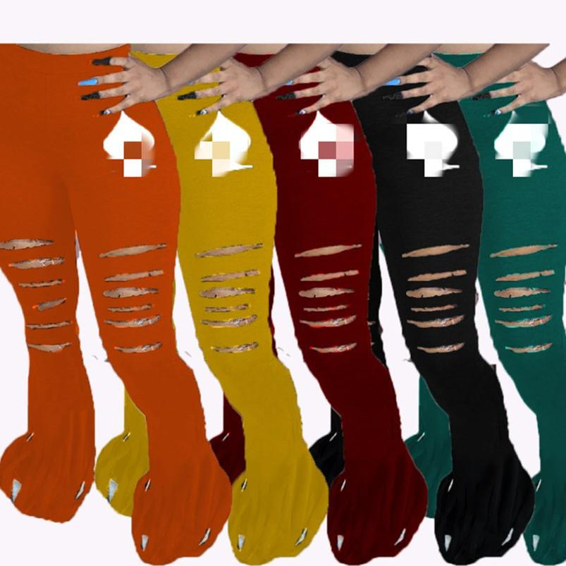 Womens bootcut pantalones flare pantalones legging los pantalones ocasionales de la pierna del agujero de la impresión atractiva de moda para mujer pantalones de deporte klw4677