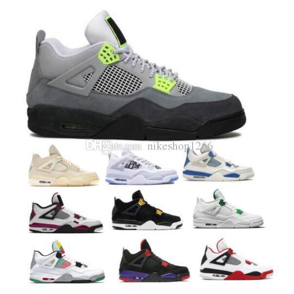 2020 Jumpman 4 4s Herren-Basketball-Schuhe Off Segel Neon Metallic Cactus Jack Raptors Cement Lizenz Fire Red Lila Mann Turnschuhe Turnschuhe