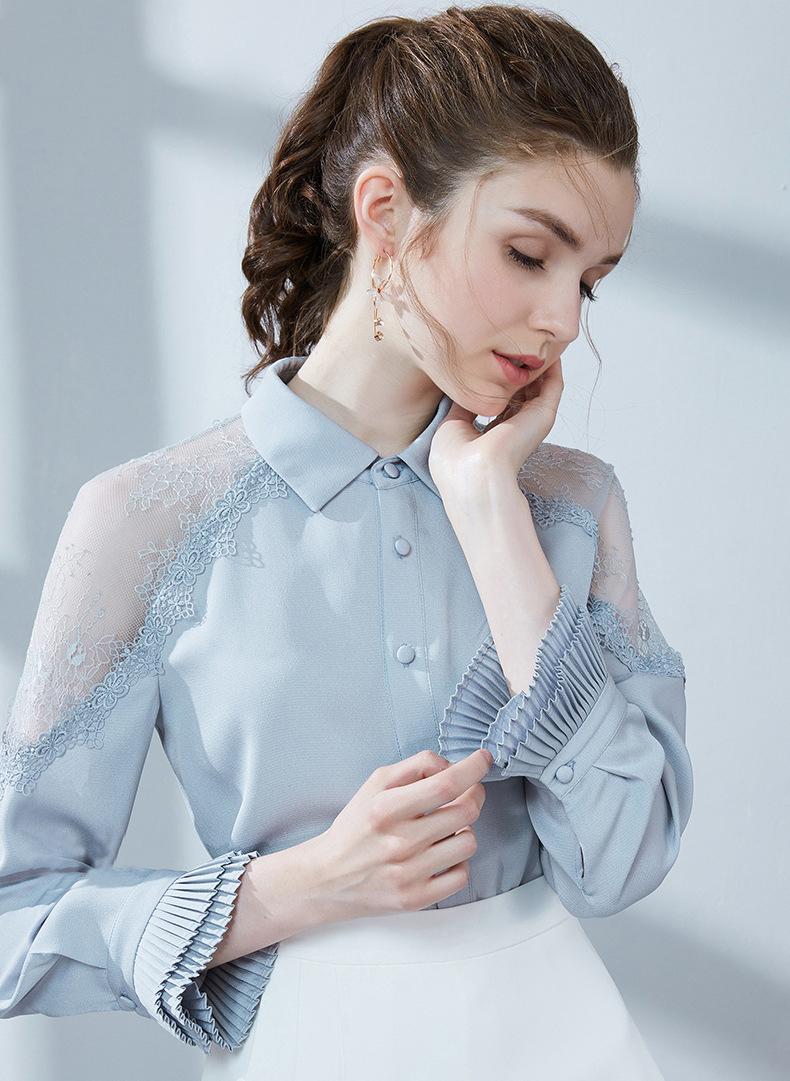 bailinshan las mujeres blusa estación del desgaste de las mujeres del otoño 2020 mujeres muy hada azul camisa de encaje europeos blusa del remiendo del cordón
