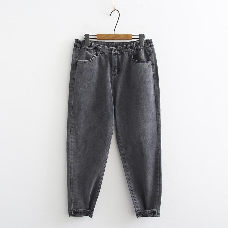Winter beiläufige Frauen lose Denim Short Grau Jeans für Mädchen Weinlese-Damen Breite Retro Jeans Femme Hose plus Größe 2xl 3xl 4xl