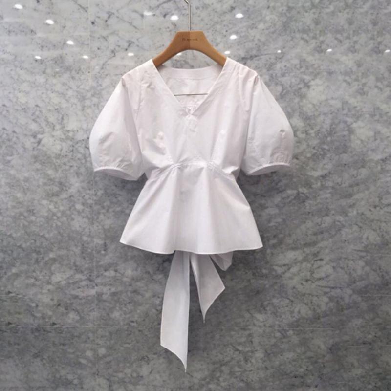 Лето Puff рукавом белая блузка 2020 Корейский Janpan Женский офис леди Рубашки Plain Женщины Топы высокой талией Bow Tie Блузы